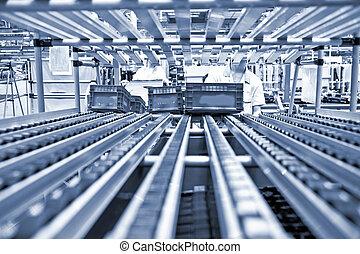 coche, línea, moderno, producción