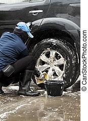 coche, lavado, hombre