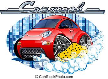 coche, lavado, señal, con, esponja