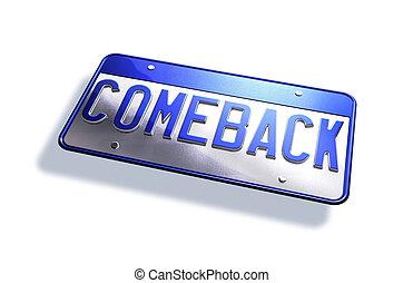 """coche, licenciar la placa, con, el, tipo, """"comeback"""", aislado, blanco, fondo."""