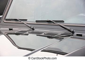 coche, limpiaparabrisas, encima de cierre