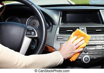 coche., limpieza, mano