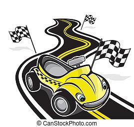 coche, lindo, carrera