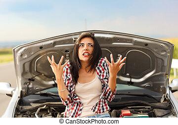 coche, locura, debido, roto
