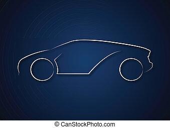 coche, logotipo, en, fondo azul
