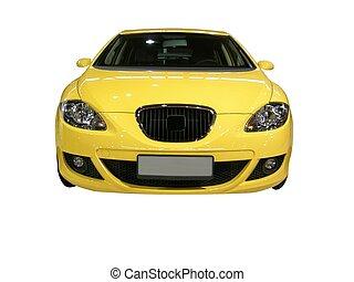 coche, lujo, amarillo
