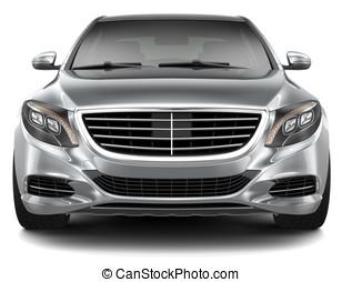 coche, -, lujo, frente, full-size, vista