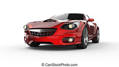 coche, lujo, plano de fondo, brandless, blanco, deporte, rojo