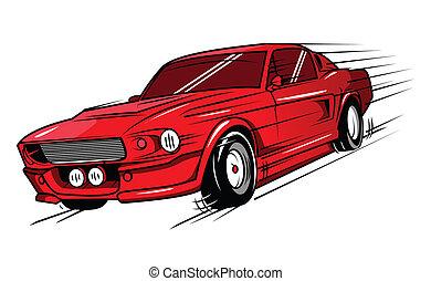coche, músculo