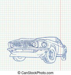 coche, músculo, ilustración