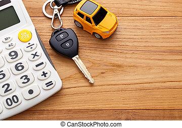 coche, madera, llave, plano de fondo