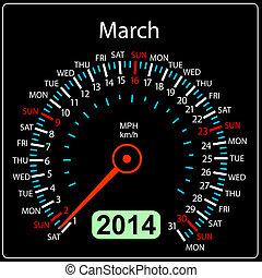 coche, march., vector., año, 2014, calendario, velocímetro