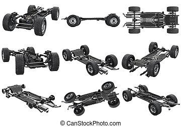 coche, marco, chasis, conjunto