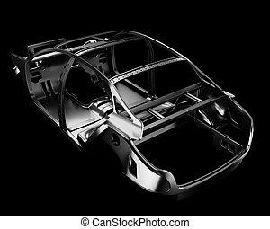 coche, marco, isolated., 3d, ilustración