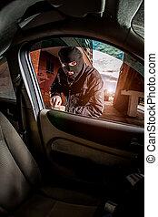 coche, mask., ladrón