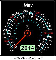 coche, may., vector., año, 2014, calendario, velocímetro
