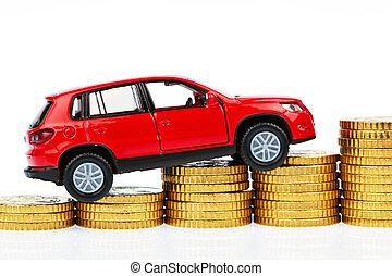 coche modelo, y, monedas., coche, costes