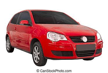 coche, moderno, aislado, rojo