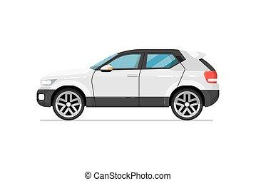 coche, moderno, aislado, suv, vector, icono