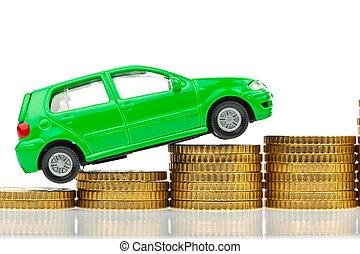 coche, monedas., costes, levantamiento