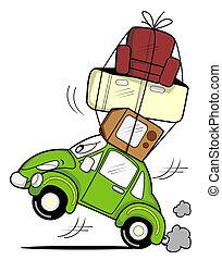 coche, mudanza, caricatura