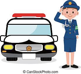 coche, mujer policía, policía