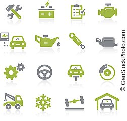 coche, natura, servicio, icons.