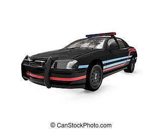 coche, negro, aislado, vista, policía, frente
