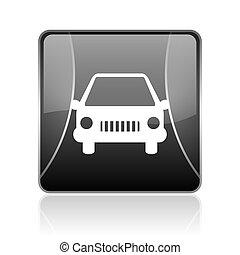 coche, negro, cuadrado, tela, brillante, icono