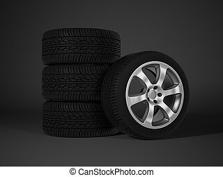 coche, neumático, aleación, aluminio, rueda