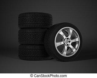 coche, neumático, con, aluminio, rueda de aleación