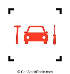 coche, neumático, reparación, servicio, signo., vector., rojo, icono, dentro, negro, foco, esquinas, blanco, fondo., isolated.