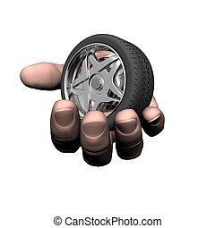 coche, neumático, rueda, en, el, mano