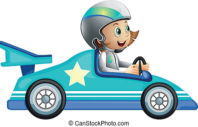 coche, niña, carreras, competición