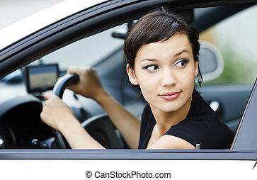coche, niña, estacionamiento