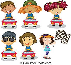 coche, niños, carreras