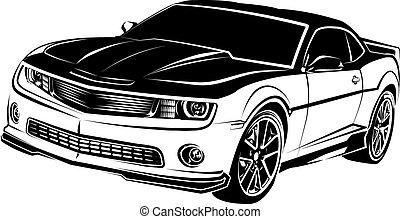 coche, norteamericano, músculo