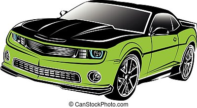 coche, norteamericano, músculo, verde