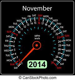 coche, november., vector., año, 2014, calendario, velocímetro