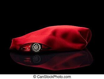 coche nuevo, escondido, debajo, rojo, cubierta