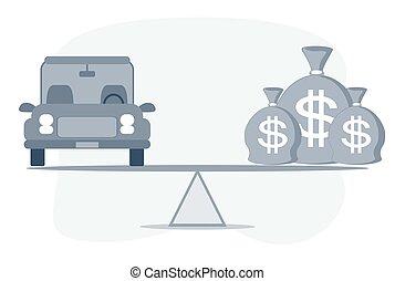 coche, o, concept., bienes, préstamo, efectivo, automóvil, ...
