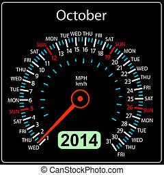 coche, october., vector., año, 2014, calendario, velocímetro