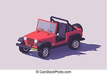 coche, off-road, poly, suv, vector, bajo, 4x4