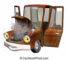 coche, oxidado, viejo