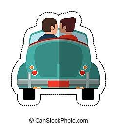 coche, pareja, encantador, conductor