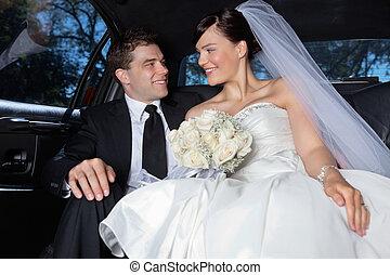 coche, pareja, lujoso