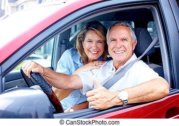 coche, pareja