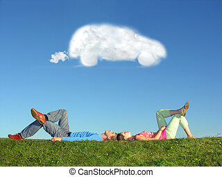 coche, pareja, sueño, nube