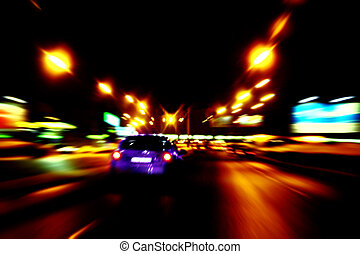 coche, paseo, a, el, noche, calles, de, la ciudad