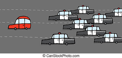 coche, patrulla, perseguir, rojo